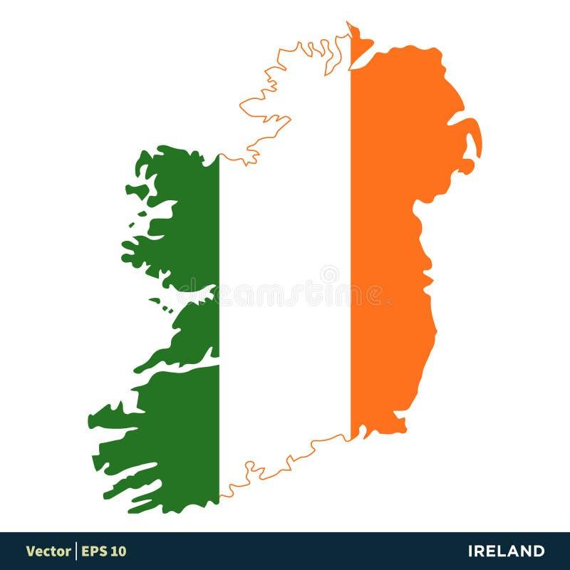 L'Irlande - les pays de l'Europe tracent et marquent la conception d'illustration de calibre d'icône de vecteur Vecteur ENV 10 illustration libre de droits