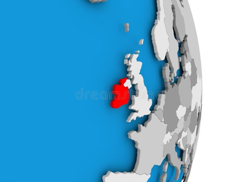 L'Irlande sur le globe illustration stock