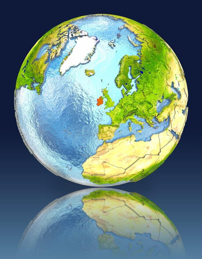 L'Irlande sur le globe avec la réflexion illustration de vecteur