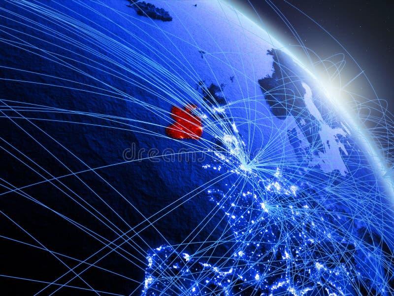 L'Irlande sur le globe numérique bleu bleu illustration libre de droits