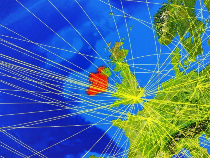 L'Irlande sur terre avec le réseau illustration libre de droits