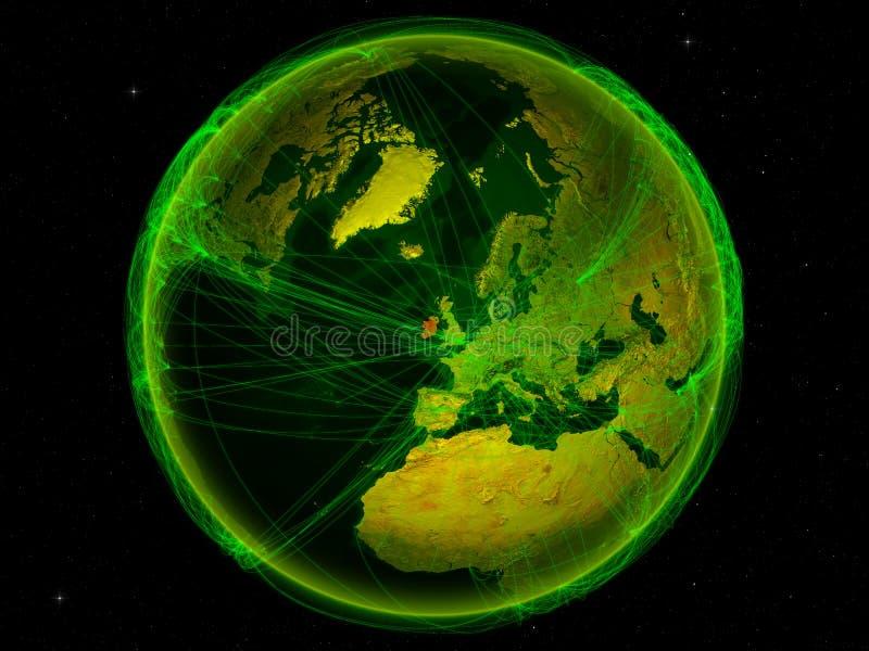 L'Irlande sur terre avec le réseau illustration de vecteur