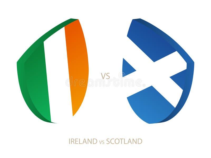 L'Irlande v Ecosse, icône pour le tournoi de rugby illustration stock