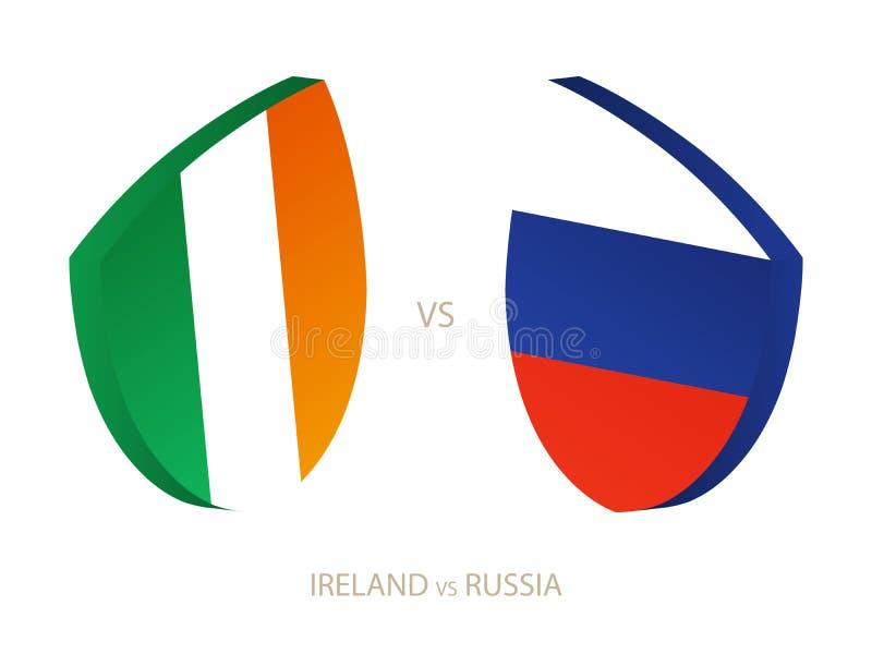 L'Irlande v Russie, icône pour le tournoi de rugby illustration de vecteur