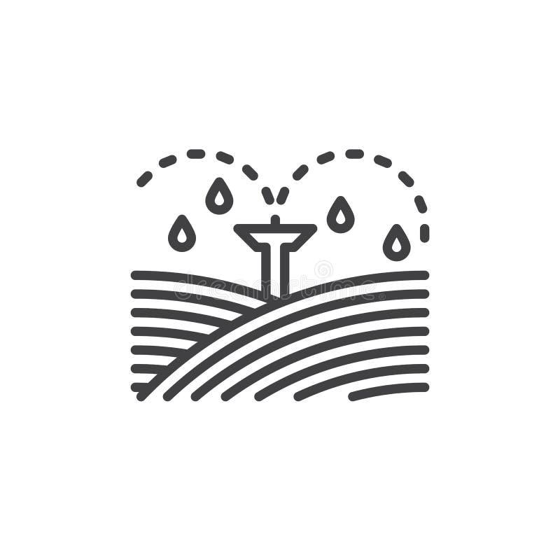 L'irrigation équipe la ligne d'arroseuses icône, signe de vecteur d'ensemble, pictogramme linéaire de style d'isolement sur le bl illustration de vecteur