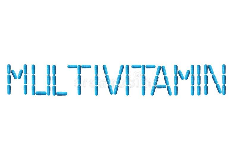 L'iscrizione è multivitaminico allineato con le pillole blu Preparazioni di Farmaceutical Medicina e trattamento delle malattie R fotografie stock libere da diritti