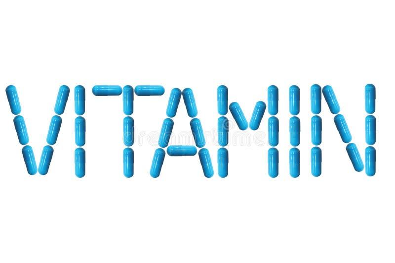 L'iscrizione è vitamina allineata con le pillole blu Preparazioni di Farmaceutical Medicina e trattamento delle malattie Riempime immagine stock libera da diritti