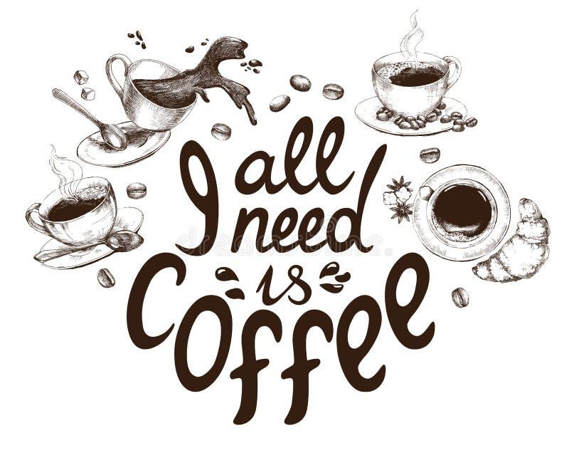 L'iscrizione della tutta con lettere che abbia bisogno di è caffè decorato con le tazze di caffè disegnate a mano royalty illustrazione gratis