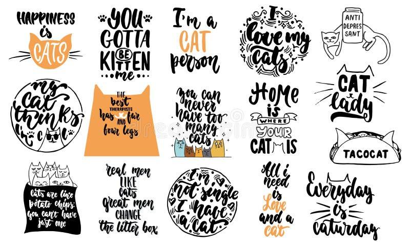 L'iscrizione disegnata a mano cita circa le collezioni dei gatti isolate sui precedenti bianchi Calligrafia di vettore dell'inchi illustrazione di stock