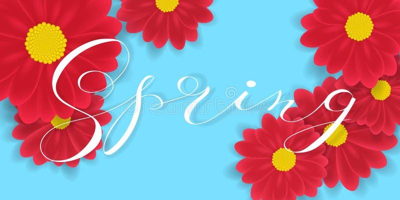 L'iscrizione scritta mano della primavera e la gerbera o la margherita fotorealistica rossa fiorisce gli elementi Illustrazione d illustrazione di stock