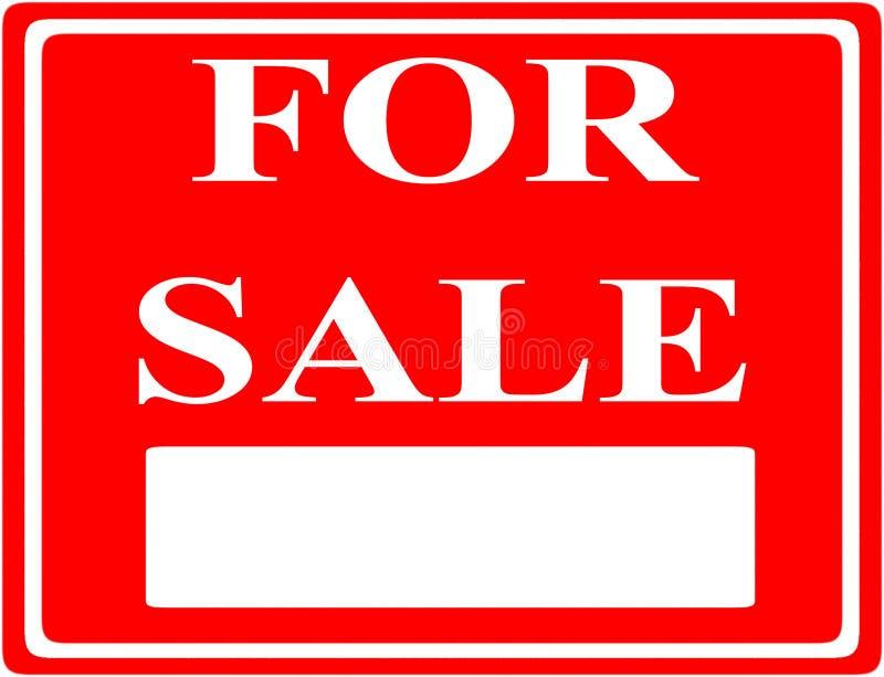L'iscrizione su un fondo rosso Per la vendita con un giacimento dell'iscrizione royalty illustrazione gratis