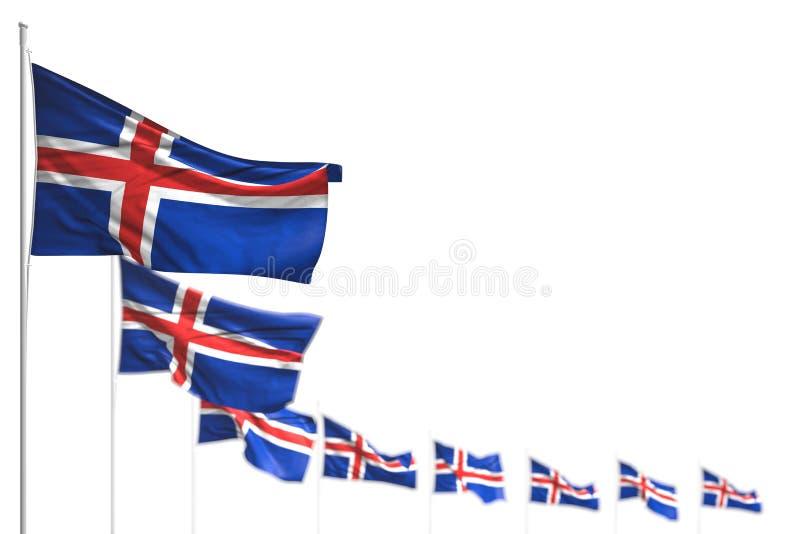 L'Islanda meravigliosa ha isolato le bandiere ha disposto diagonale, l'immagine con messa a fuoco morbida ed il posto per testo - illustrazione vettoriale