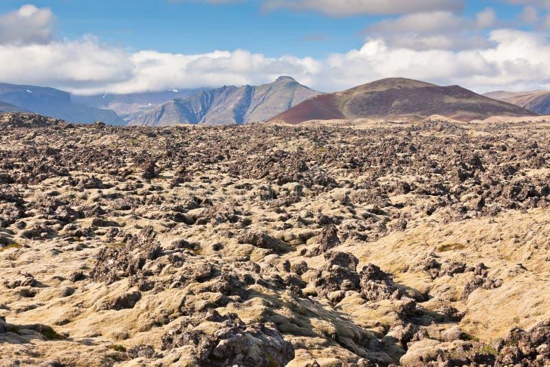 L'Islande a durci le paysage de gisement de lave photographie stock libre de droits
