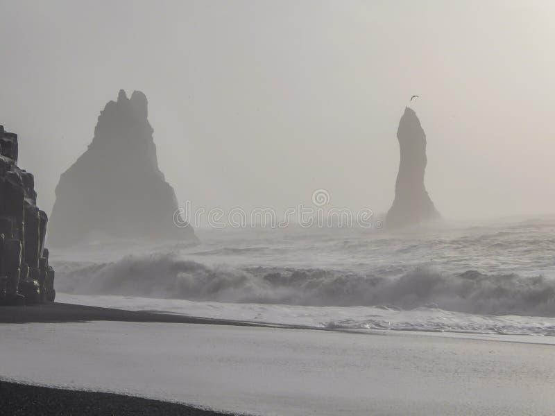 L'Islande - la plage de sable de noir de Reynisfjara images libres de droits