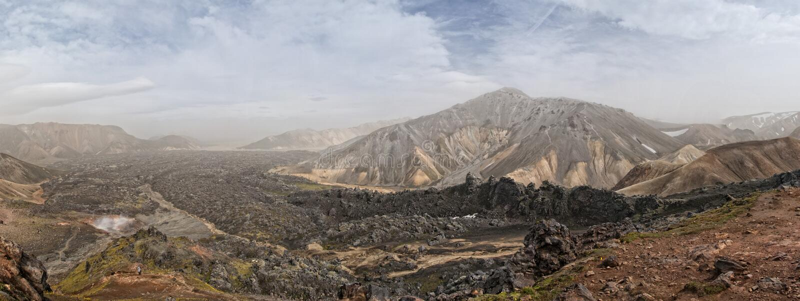 L'Islande Landmannalaugar - trekking de rk de ½ de ¿ de rsmï de ½ de ¿ d'ï de ½ de ¿ d'ï photographie stock libre de droits