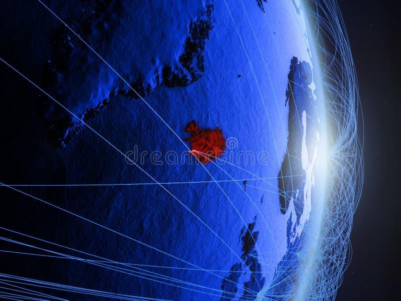 L'Islande sur la terre numérique bleue bleue photos libres de droits