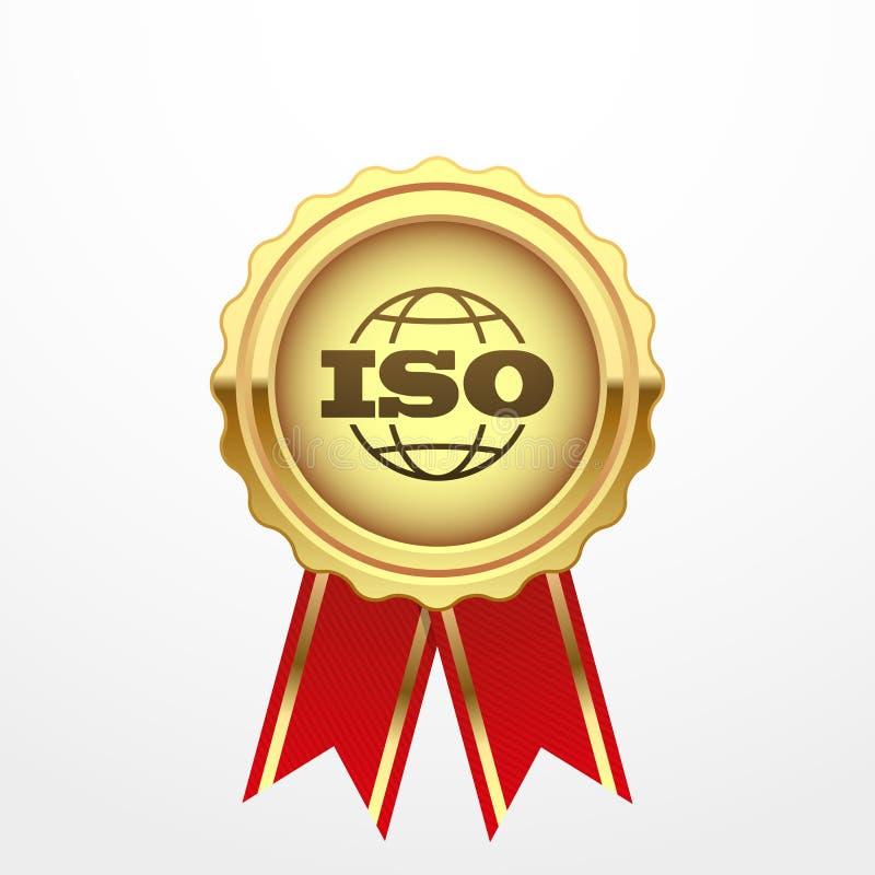 L'iso certifica l'etichetta dorata, illustrazione di vettore illustrazione di stock