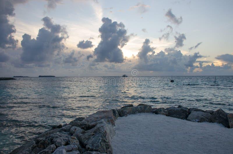 L'isola delle Maldive un tramonto grigio con le nuvole un bello paesaggio di una palma e dell'oceano immagine stock libera da diritti