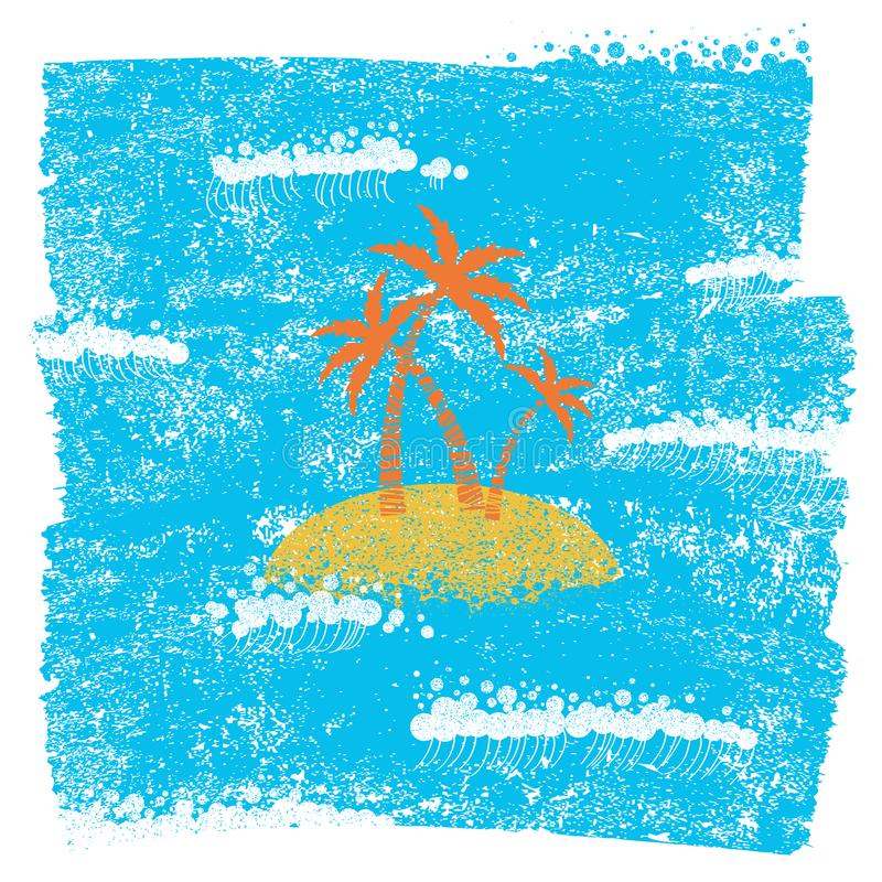 L'isola di palma ed il fondo blu del mare sul lerciume incartano la struttura illustrazione vettoriale