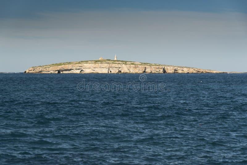 L'isola di St Paul da Bugibba Malta fotografia stock libera da diritti