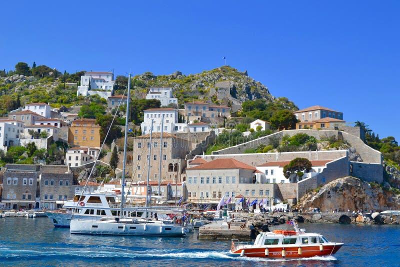 L'isola sbalorditiva della hydra, Grecia fotografia stock