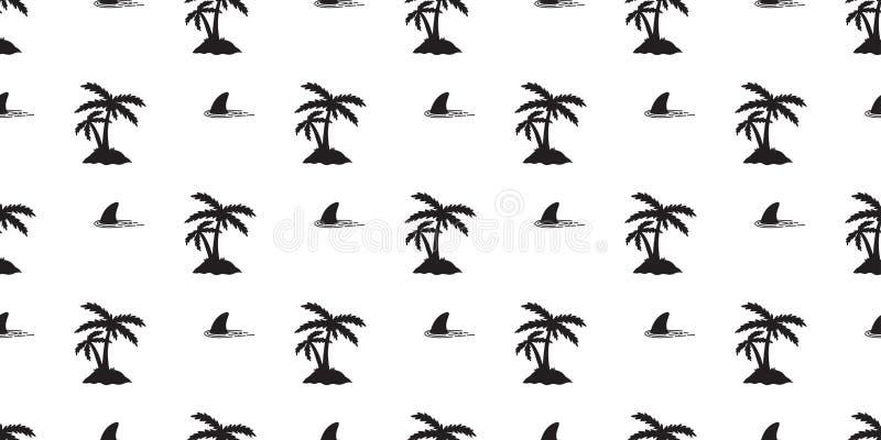 L'isola senza cuciture dell'onda di oceano della balena del delfino del cocco della palma di vettore del modello dell'aletta dell illustrazione di stock