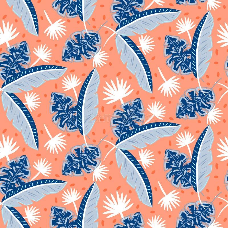 L'isola tropicale blu e rossa lascia il modello per le stampe senza cuciture dell'estate royalty illustrazione gratis