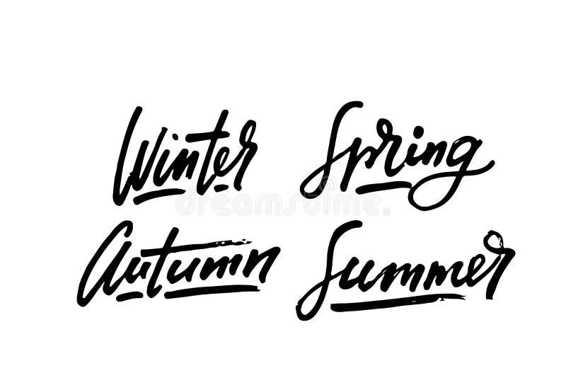 L'ispirazione di stile di vita di stagioni cita l'iscrizione Elemento scritto a mano di progettazione grafica di calligrafia Cond fotografia stock