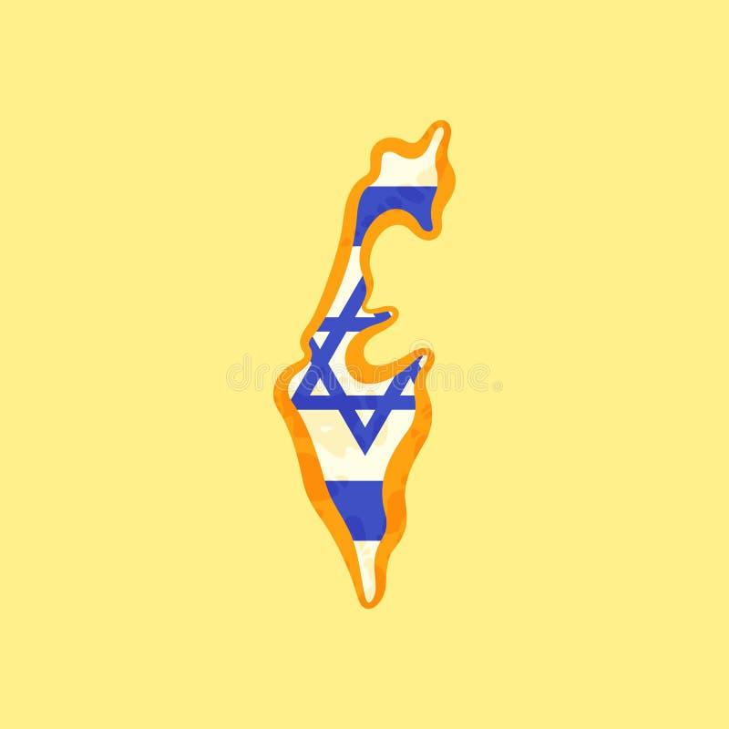 L'Israël - carte colorée avec le drapeau israélien illustration de vecteur