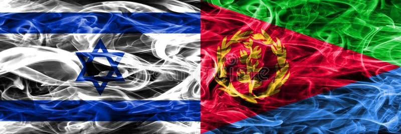 L'Israël contre des drapeaux de fumée de l'Érythrée placés côte à côte Israélien et E illustration libre de droits