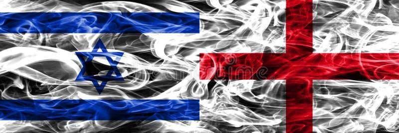 L'Israël contre des drapeaux de fumée de l'Angleterre placés côte à côte Israélien et E illustration stock