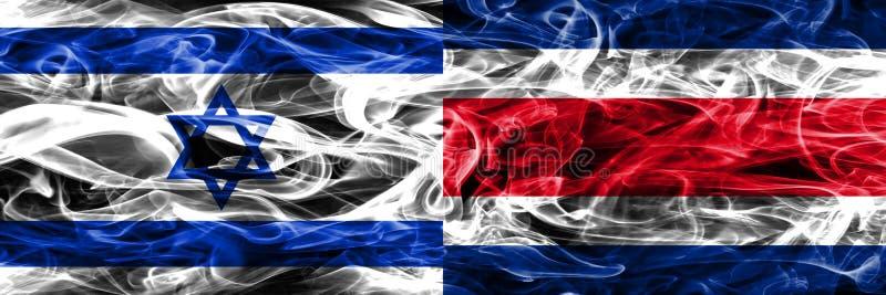 L'Israël contre des drapeaux de fumée de Costa Rica placés côte à côte Israélien illustration de vecteur