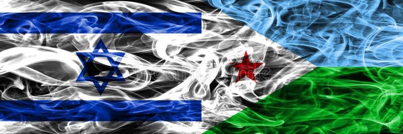 L'Israël contre des drapeaux de fumée de Djibouti placés côte à côte Israélien et illustration de vecteur