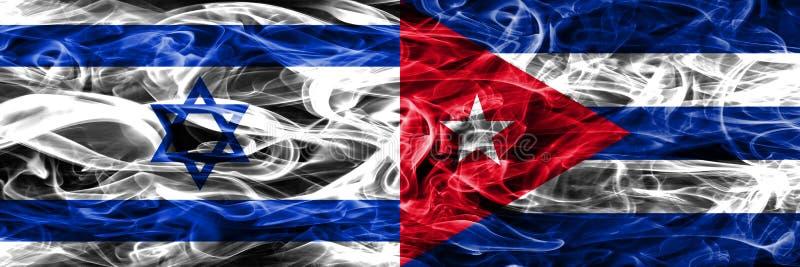 L'Israël contre des drapeaux de fumée du Cuba placés côte à côte Israélien et le Cuba illustration stock