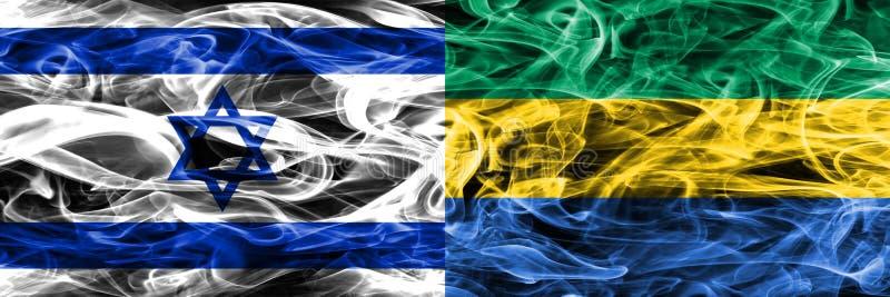 L'Israël contre des drapeaux de fumée du Gabon placés côte à côte Israélien et encoche illustration stock