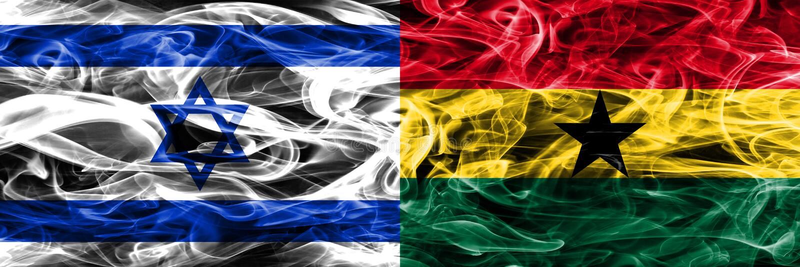 L'Israël contre des drapeaux de fumée du Ghana placés côte à côte Israélien et Gha illustration libre de droits