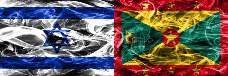 L'Israël contre des drapeaux de fumée du Grenada placés côte à côte Israélien et G illustration libre de droits