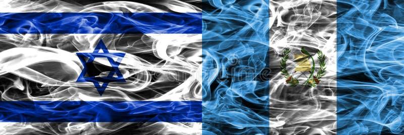 L'Israël contre des drapeaux de fumée du Guatemala placés côte à côte Israélien et illustration stock