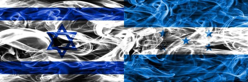 L'Israël contre des drapeaux de fumée du Honduras placés côte à côte Israélien et illustration stock
