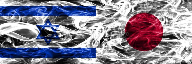 L'Israël contre des drapeaux de fumée du Japon placés côte à côte Israélien et Jap illustration libre de droits