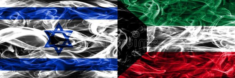 L'Israël contre des drapeaux de fumée du Kowéit placés côte à côte Israélien et Ku illustration libre de droits