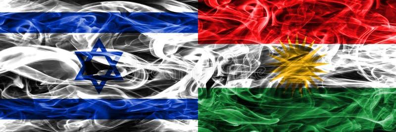 L'Israël contre des drapeaux de fumée du Kurdistan placés côte à côte Israélien et illustration de vecteur