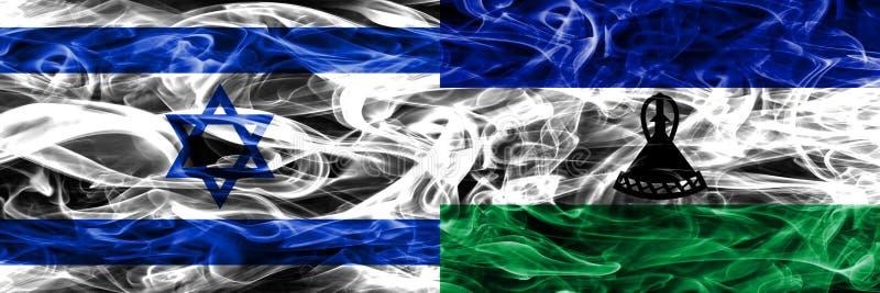 L'Israël contre des drapeaux de fumée du Lesotho placés côte à côte Israélien et L illustration libre de droits