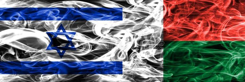 L'Israël contre des drapeaux de fumée du Madagascar placés côte à côte Israélien illustration stock