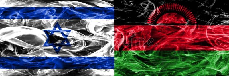 L'Israël contre des drapeaux de fumée du Malawi placés côte à côte Israélien et mA illustration de vecteur