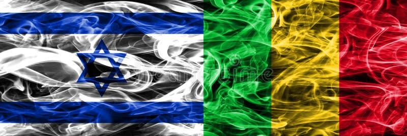 L'Israël contre des drapeaux de fumée du Mali placés côte à côte Israélien et le Mali illustration de vecteur