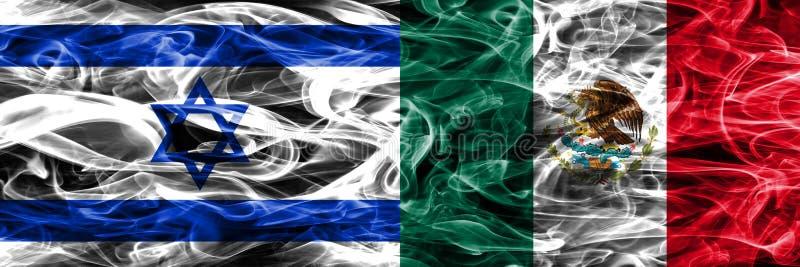 L'Israël contre des drapeaux de fumée du Mexique placés côte à côte Israélien et moi illustration de vecteur