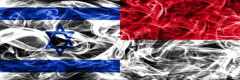 L'Israël contre des drapeaux de fumée du Monaco placés côte à côte Israélien et MOIS illustration de vecteur