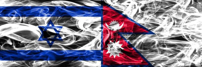L'Israël contre des drapeaux de fumée du Népal placés côte à côte Israélien et noeud illustration stock