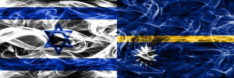 L'Israël contre des drapeaux de fumée du Nauru placés côte à côte Israélien et Nau illustration stock